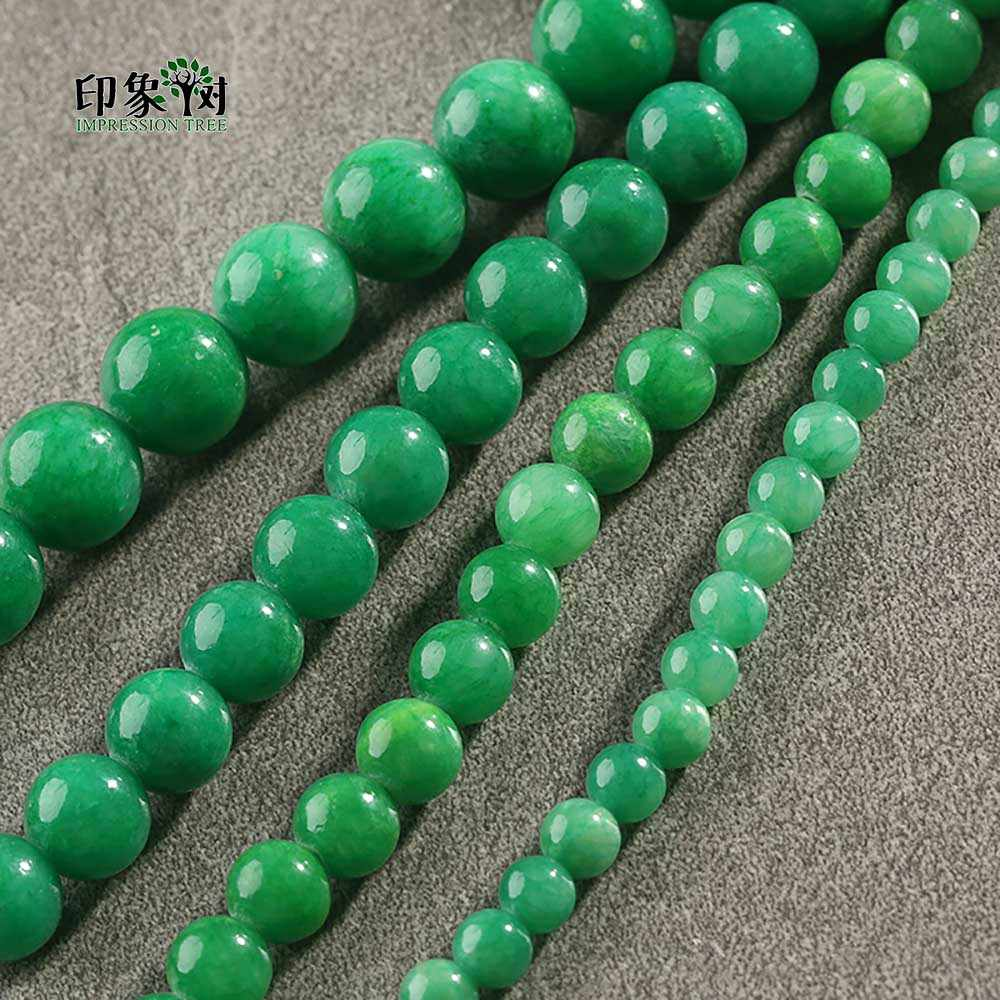 1Pc Multi Grün Farbe Jad e Perlen Glatte Lose Stein Perle Pick Größe 6 8 10 12mm Fit für DIY Schmuck Machen Halskette 1880