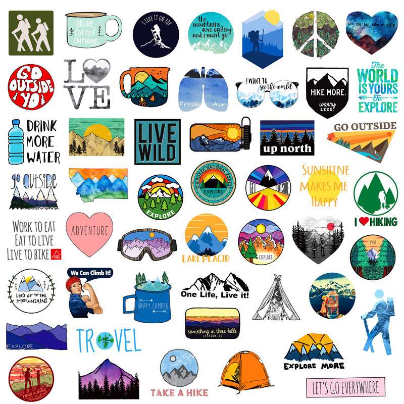 50PCS Outdoor Adventure Hiking Adventure Stickers For Car Styling Bike Motorcycle Phone Laptop Travel Luggage DIY TOY Sticker