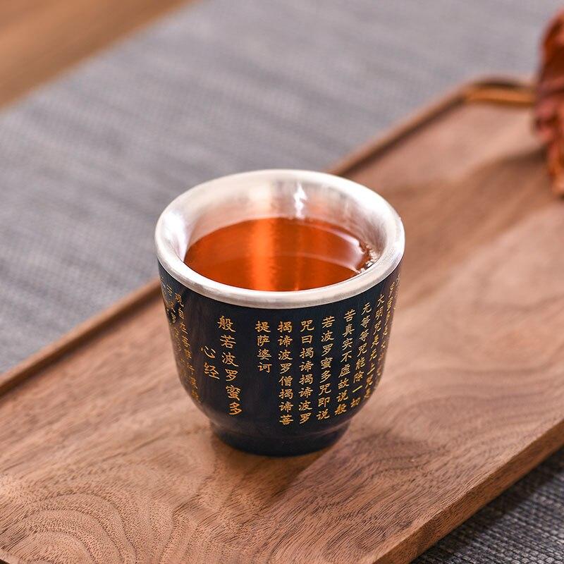 Sac en porcelaine argent 999 thé en argent sterling Kung Fu service à thé en argent bleu et blanc tasse à thé en porcelaine tasse en argent sterling - 4