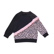 Toddler Girls Casual Sweatshirts, Long Sleeve Crew Neck Leopard Patchwork Ruffle Trim Pullover Tops