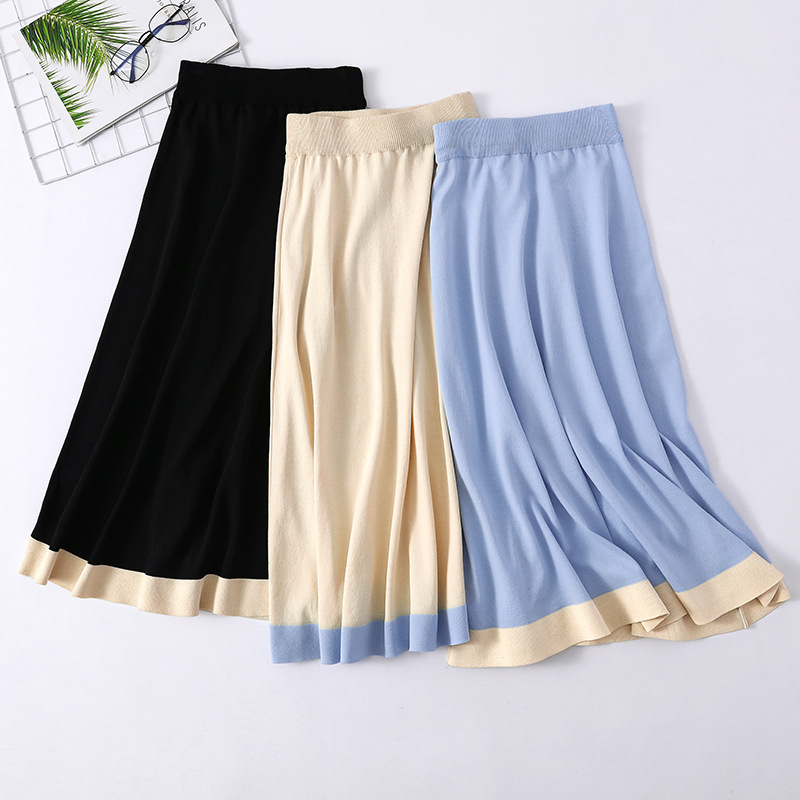 2019 Women High Waist Knitted Long Skirt Stretch Vintage Autumn Women A-Line Color Patch Beige Skirt Faldas Jupe Femme Saia