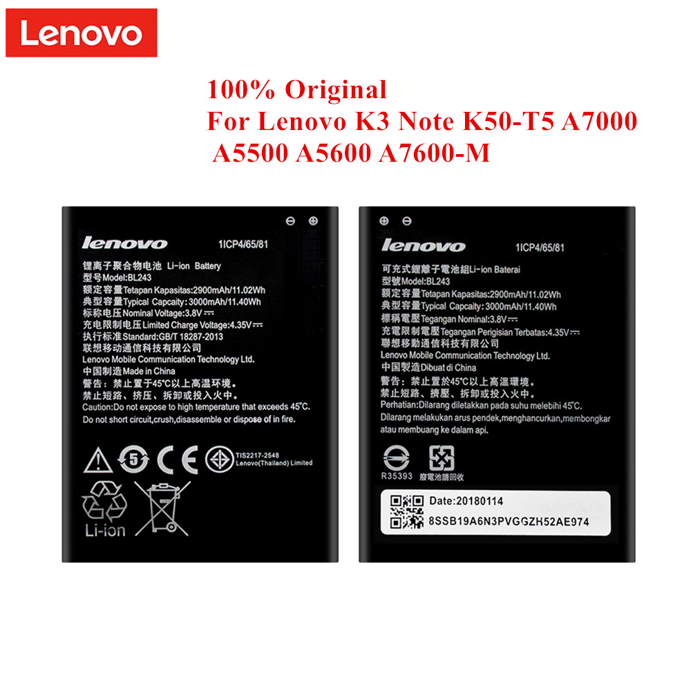 100% Original <font><b>Battery</b></font> BL243 for <font><b>Lenovo</b></font> <font><b>K3</b></font> <font><b>Note</b></font> K50-T5 A7000 A5500 A5600 A7600 2900/3000mAh Top Quality Li-Polymer Akku image