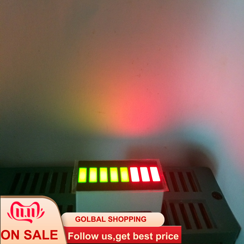 5pcs LED Bargraph Display 8 Segment LED Numbers Programmable LED Sign Bar-Graph 8Bars Cube Screens Board Bi-color Green&RED 5G3R