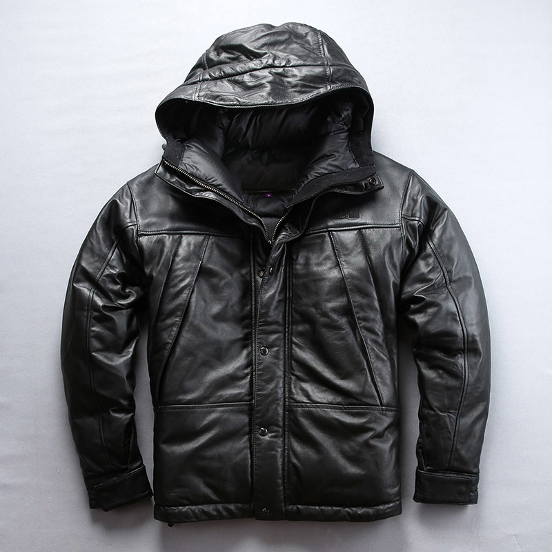 AVFLY 2020 New Men USA Szie Casual Hooded Genuine Leather Down Jacket Fashion Hooded Sheepskin Thick Down Russia Winter Coats