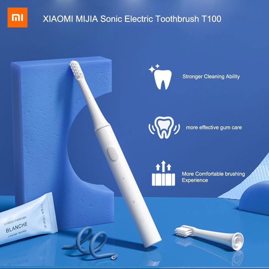 Xiaomi Mijia-brosse à dents électrique sonique T100, brosse à dents automatique à ultrasons, Rechargeable USB, étanche IPX7