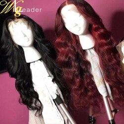Wigleader, 180% плотные человеческие волосы без повреждений, глубокие красные передние парики на сетке, предварительно выщипанные передние парик...