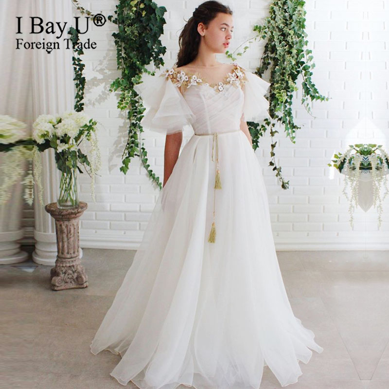 Golden Beading Wedding Dress Crystal vestidos de noiva Bespoke Wedding Party Gowns
