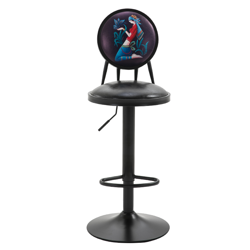 Bar Chair  Lift Home Back Swivel  High Stool Creative Front  Retro Industrial