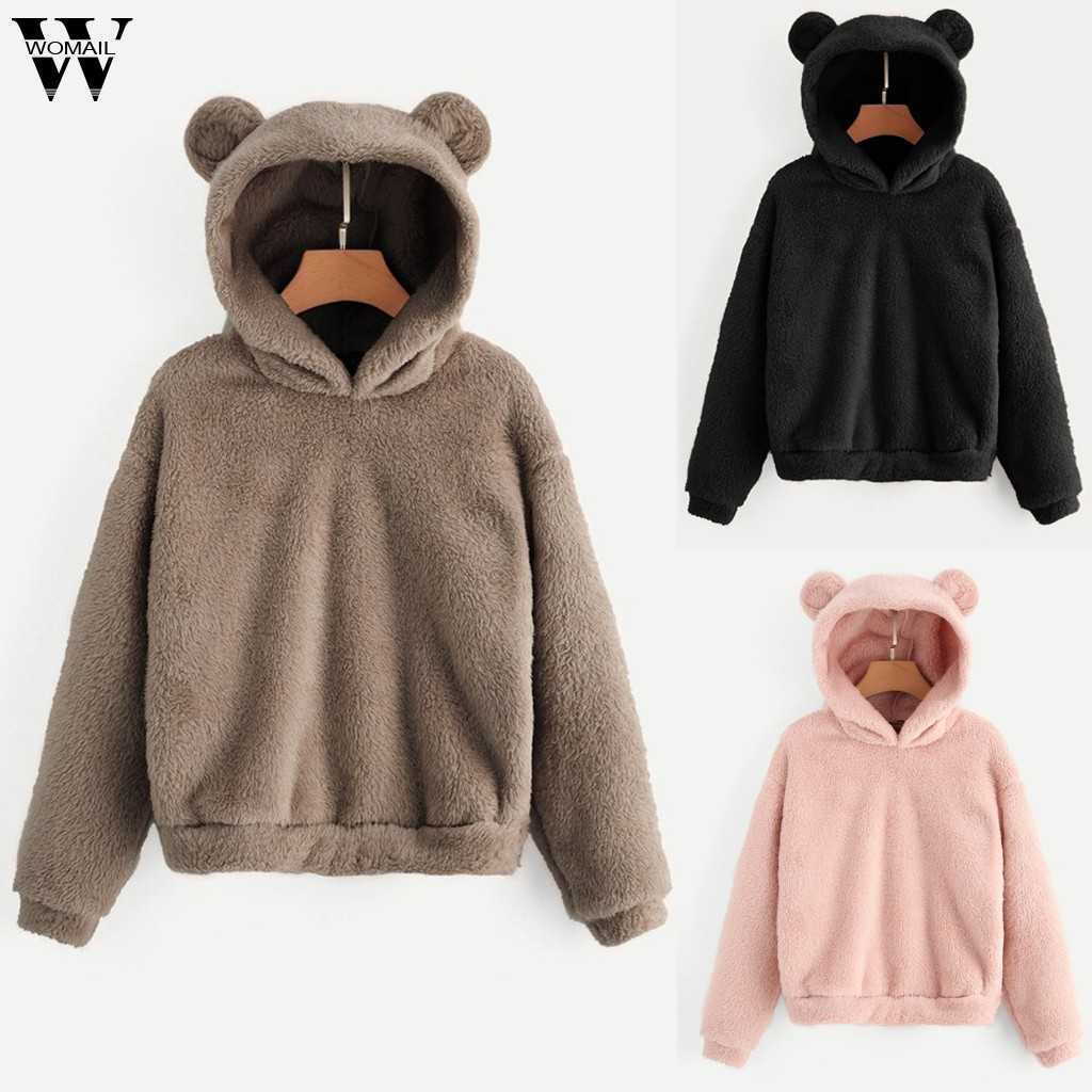 Womail Women Sweatshirts Lovely With Bears Ear Solid Hoodie