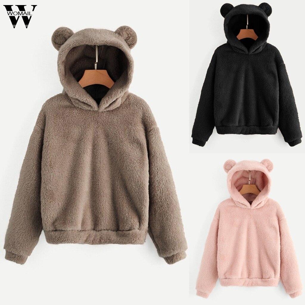 Womail Women Sweatshirts Lovely With Bears Ear Solid Hoodie Pullovers Warm Faux Fur Fluffy Sweatshirt Cute Casual Long Sleeve