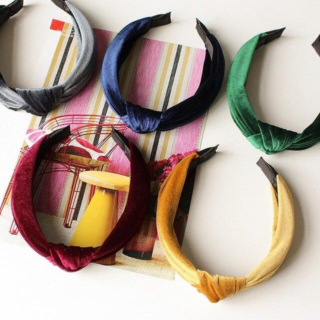 Bandeau de cheveux en couleur unie | Bandeau rétro noué or, duvet doie sauvage pour femmes, accessoires de cheveux
