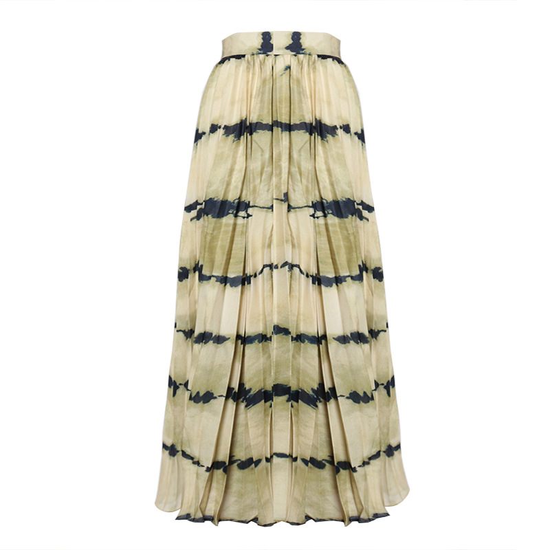 TWOTWINSTYLE Print Hit Color Pleated Skirts For Female High Waist Casual Striped Midi Women's Skirt Fashion 2020 Clothing Tide