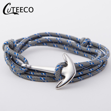CUTEECO Navy wind Anchor Bracelets alloy anchor woven nylon bracelet simple men and women couple Jewelry