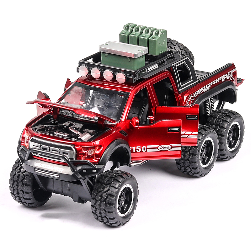 1:32 Diecast Ford F150 Raptor Pickup Alloy Truck Car Model Pull Back Vehicle Model Collection Sound&Light Cars Toys For Children