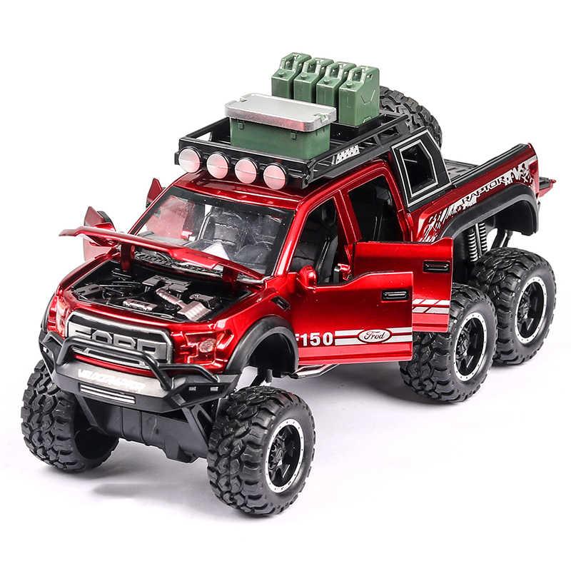 1:32 Diecast Ford F150 Raptor Pickup Paduan Mobil Truk Model Tarik Kembali Model Kendaraan Koleksi Sound & Light Mobil Mainan untuk Anak-anak