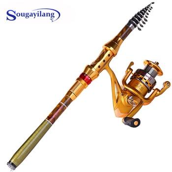 цена на Sougayilang Fishing Rod Combo Carbon Fiber Telescopic Pole with Full Metal Spinning Reel Set Trolling Carp Fishing Tackle Pesca