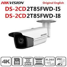 Hikvision original inglês DS 2CD2T85FWD I8 DS 2CD2T85FWD I5 8mp (4 k) ir fixo bala câmera de rede h.265 + poe ir faixa 50 m 80 m