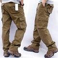 Брюки-карго мужские с множеством карманов, тактические штаны в стиле милитари для работы, Повседневная Уличная одежда, армейские прямые брю...