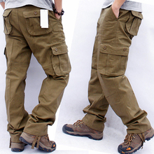 Men's Overalls Cargo Pants Multi Pockets Military Tactical Work Casual Pants Pantalon Hombre Streetwear Army Straight Trousers