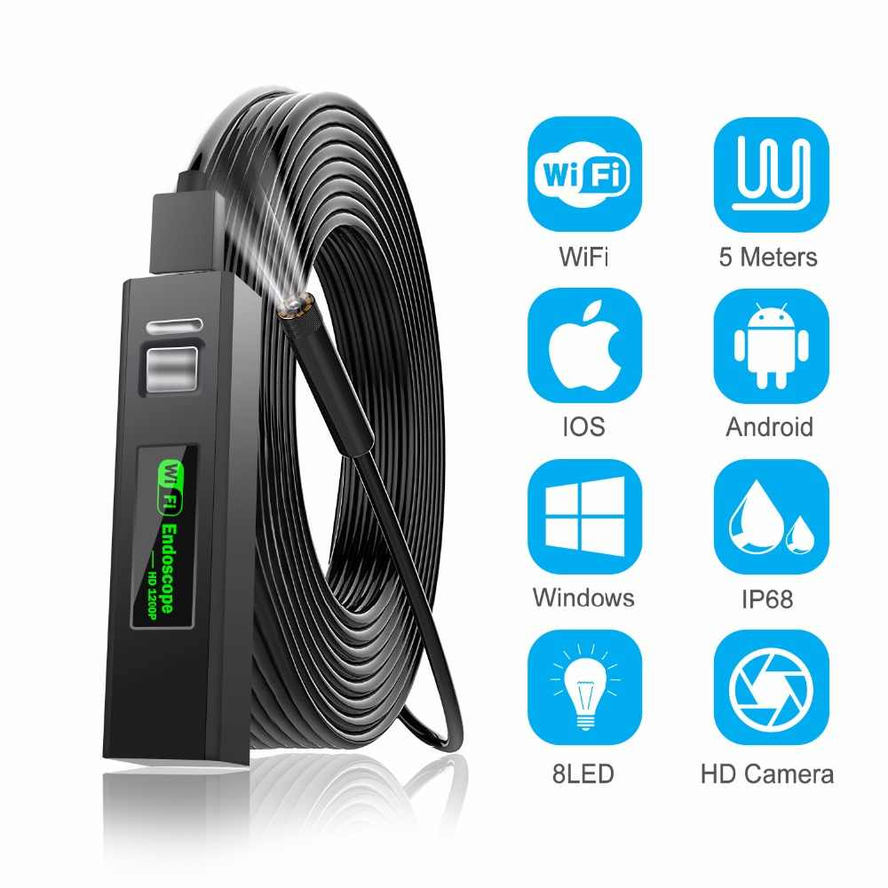 1200P Endoscope Camera Wireless Endoscope 2.0 MP HD Borescope Rigid Snake Cable for IOS iPhone Android Samsung Smartphone PC
