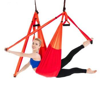 6 Handles Aerial Yoga Hammock Flying Swing Anti-gravity Yoga Pilates Inversion Exercises Device Home GYM Hanging Belt 20 Colors 1