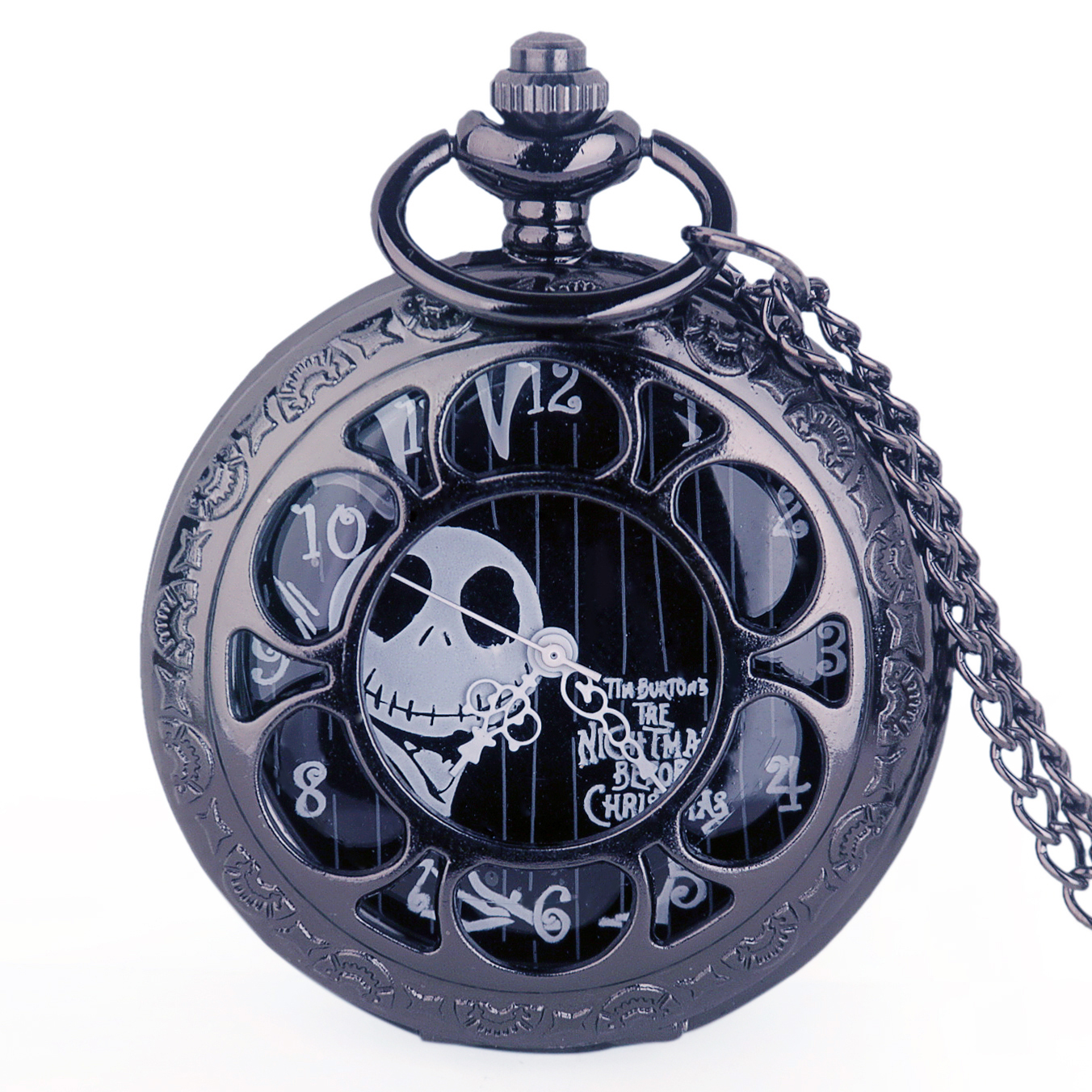 Steampunk Tim Burtons Nightmare Before Christmas Hollow Quartz Pocket Watch For Jack Skellington And Sally Men Women Gift