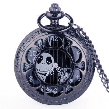 Steampunk Tim Burtons pesadilla antes de Navidad hueco reloj de bolsillo de cuarzo para Jack Skellington y Sally hombres mujeres regalo