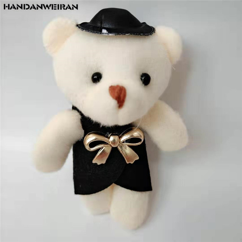 1PCS Simple Plush Couple Bear Toys Bouquet Cartoon Wedding Bears Toy Doll Small Pendant Kids Valentine Gift Unisex 2019 Hot 12CM