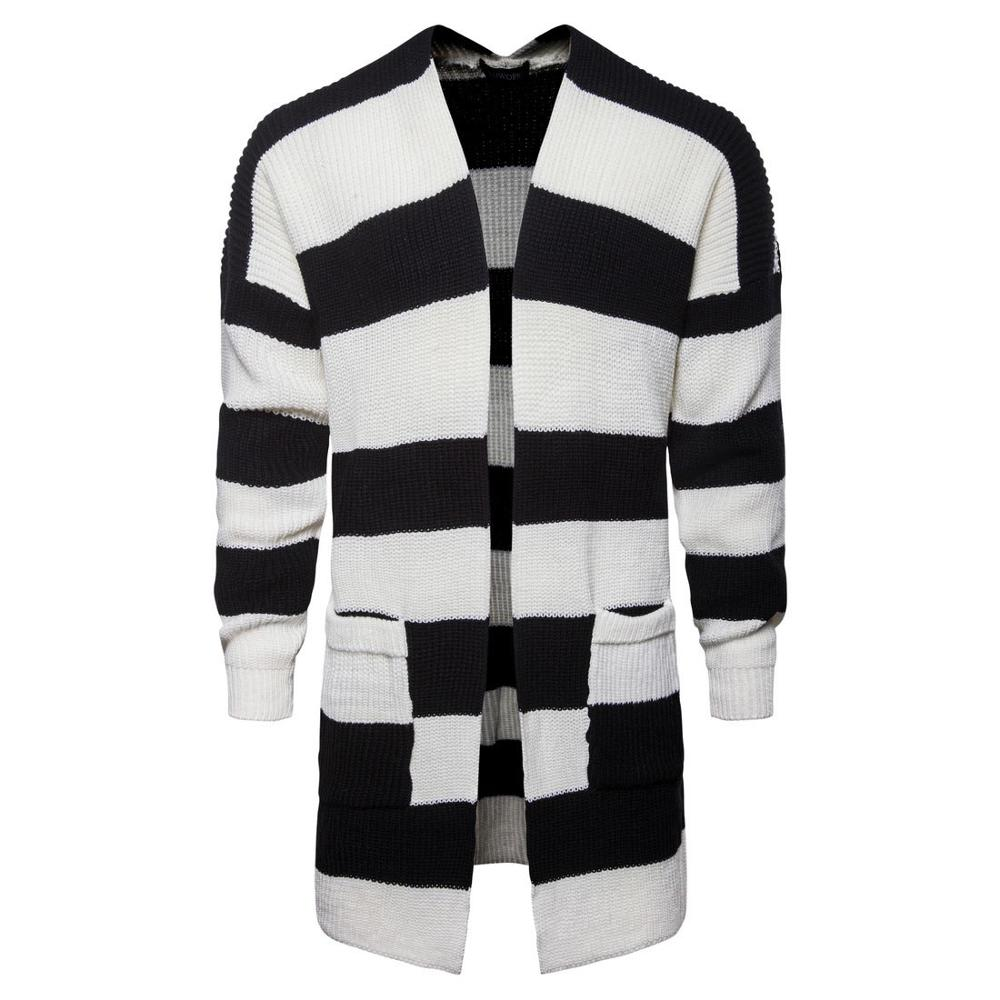 Fashion 2020 Autumn Winter Long Style Patchwork Men Color Matching Cardigan Jacket Men's   Long Black And White Striped Sweater