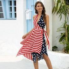 Сексуальное женское платье lofia с флагом США летнее для отпуска