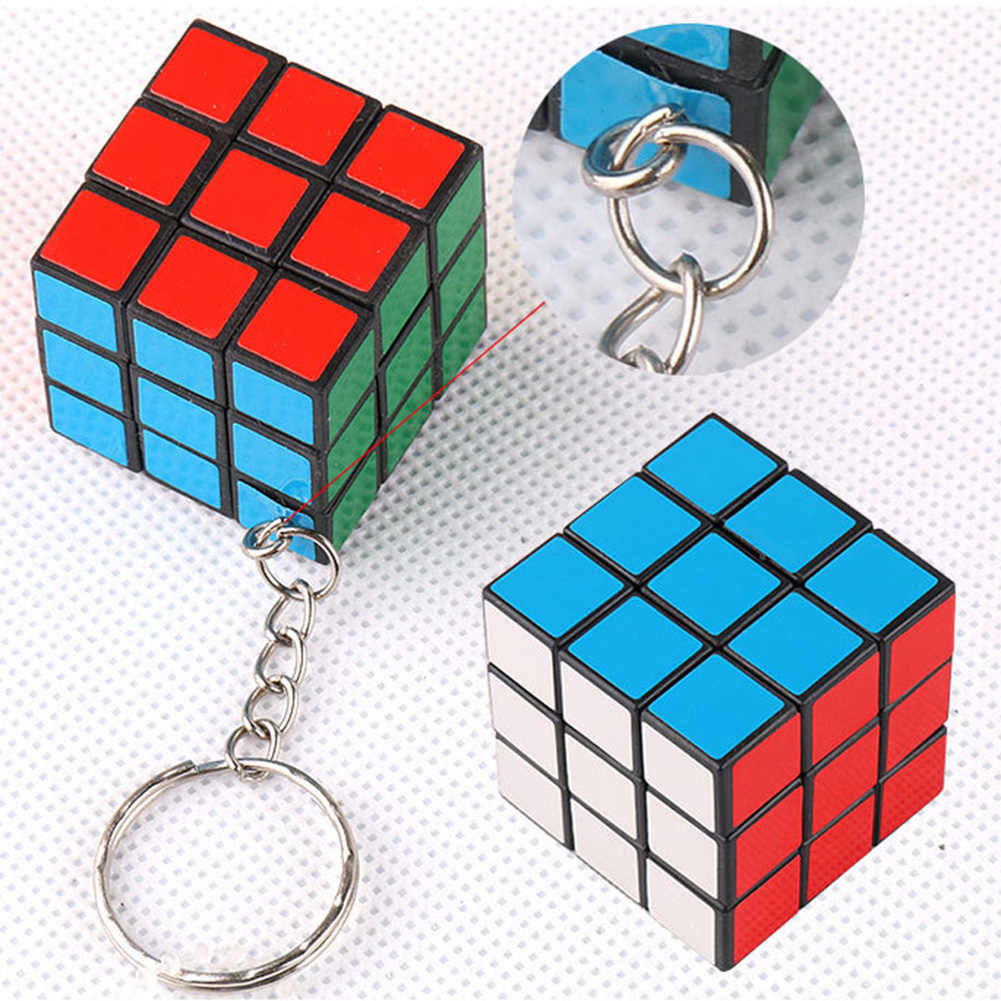 1 pc Colorful Funny Magic Cube Rubics Game Puzzle Reduced Pressure Key Ring Unisex Interesting Key Chain Accessories