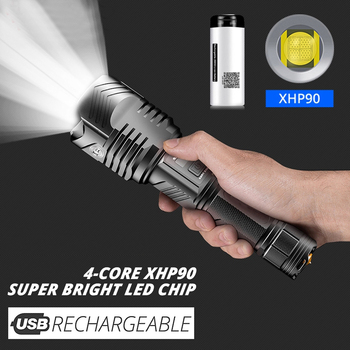 Flashlight Powerful LED flashlight Torch USB Rechargeable Tactical Lanterna 26650 Battery Outdoor Lamp Linterna holster camping