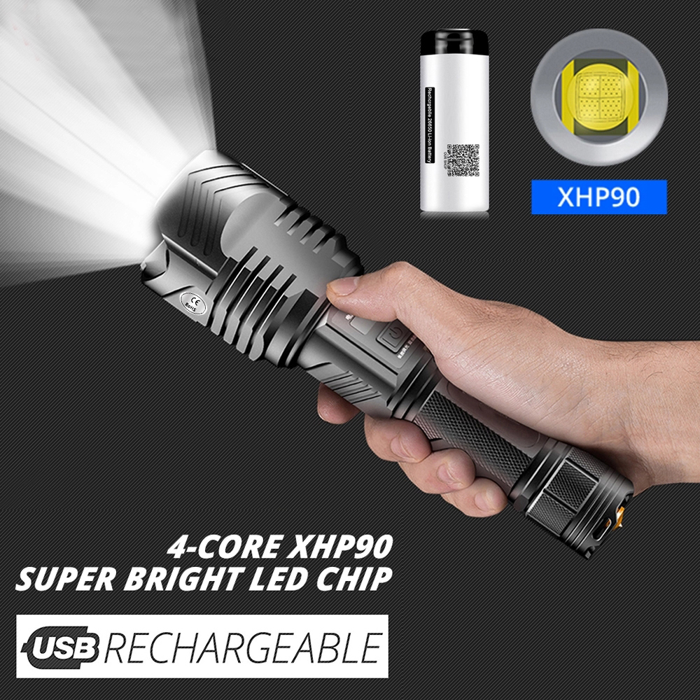 Flashlight Powerful <font><b>LED</b></font> flashlight Torch USB Rechargeable Tactical Lanterna <font><b>26650</b></font> Battery Outdoor Lamp <font><b>Linterna</b></font> holster camping image