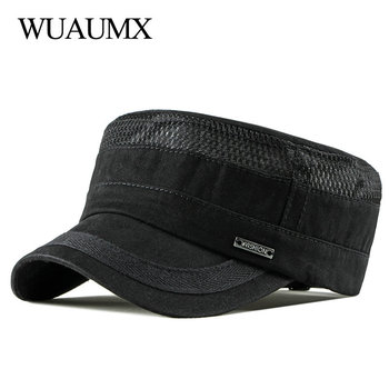 Wuaumx Casual Military Hats Spring Summer Flat Top Baseball Caps Men Women Outdoor Army Cap Mesh Breathable Casquette Militaire wuaumx casual military hats spring summer flat top baseball caps men women outdoor army cap mesh breathable casquette militaire