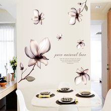 New DIY Wallpaper Mangnolia Flowers Wall Painting Stickers Home Decor Decoration Removable Art Decals DNJ998
