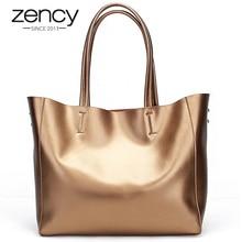 Zency Luxury Gold Women Shoulder Bag 100% Genuine Leather Large Capacity Handbag Elegant Ladies Messenger Crossbody Fashion