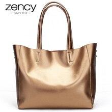 Zency lüks altın kadın omuzdan askili çanta 100% hakiki deri büyük kapasiteli çanta zarif bayanlar Messenger Crossbody moda