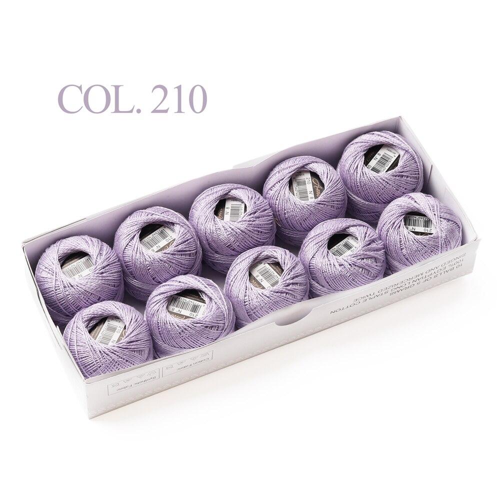 10 коробка с шариками Размер 8 жемчуг Хлопок нитки для вязания 43 ярдов двойная Мерсеризация длинный штапель из египетского хлопка 79 DMC цвета
