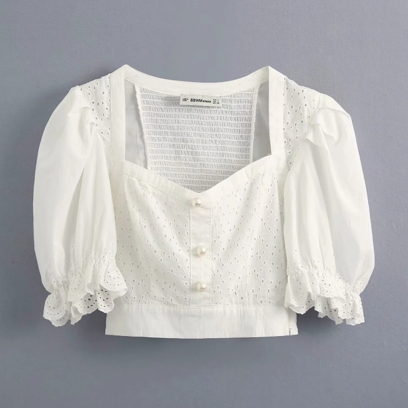 New 2020 Women Hollow Out Lace Embroidery Patchwork Casual Slim White Blouse Ladies Back Elastic Shirts Chic Blusas Tops