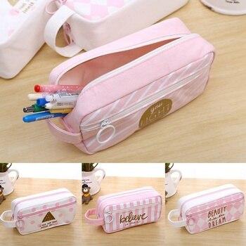 Kawaii Large Capacity Canvas School Pencil Cases Creative Cute Pen Bag Box Pouch Office Stationary Supplies
