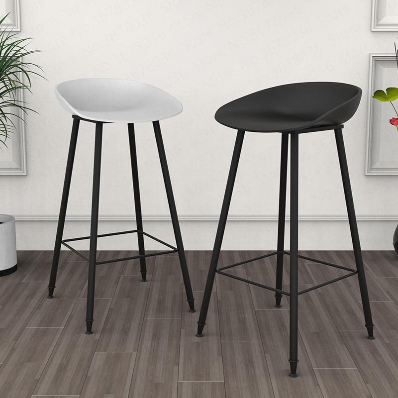 20%  Nordic Modern Minimalist Bar Stool Home Wrought Iron Stool Creative Bar Chair High Chair Sitting Height 75cm