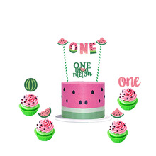 Watermelon Theme Summer Pink Red Green Watermelon Cupcake Topper Kids' Favor Birthday Holid