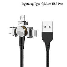 Magnetic Mobile Phone Cable 180 degrees Lightning/Type-C/Micro USB Port rotating Cord  5V/9V/12V 2.4A Fast Charging