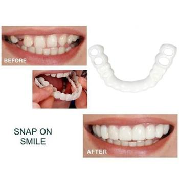 2pcs/Set Snap On Smile Teeth Veneers Whitening Cosmetic Denture Instant Perfect Smile Teeth Fake Tooth Cover Oral Hygiene Tools 2pcs perfect smile veneers silicone denture smile false veneerd teeth whitening of veneer dub in stock for correction of teeth