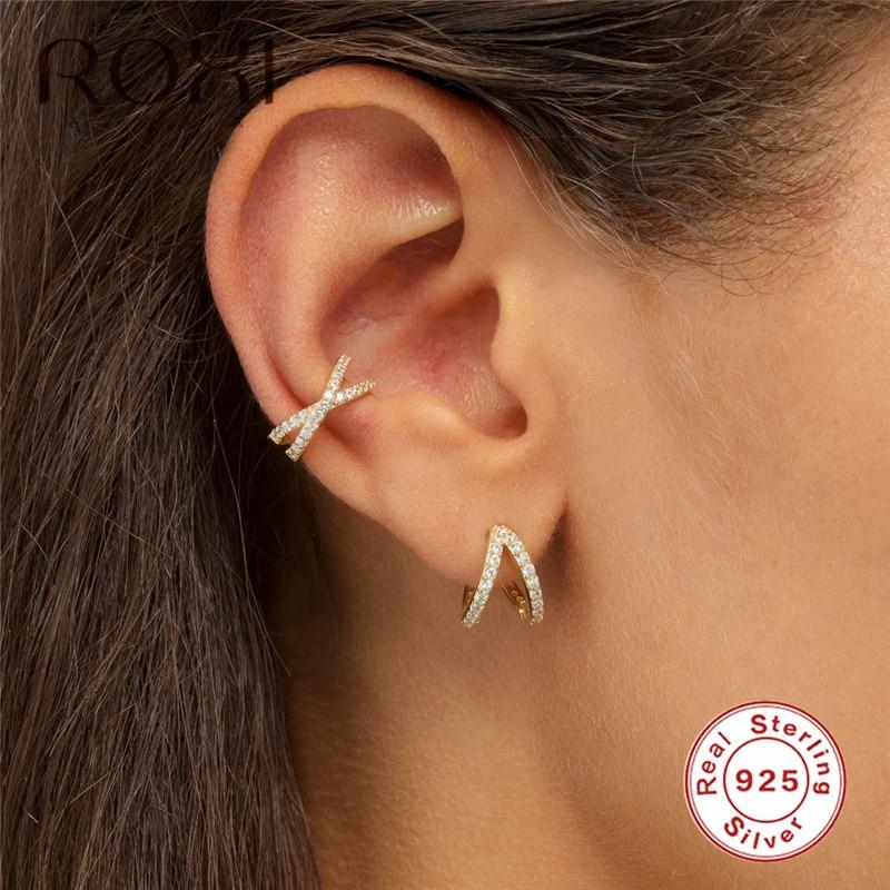 ROXI 925 пробы серебряные женские серьги, крестик, не проколотые, микро Pave CZ, маленькие клипсы украшения для ушного хряща|Серьги-клипсы|   | АлиЭкспресс