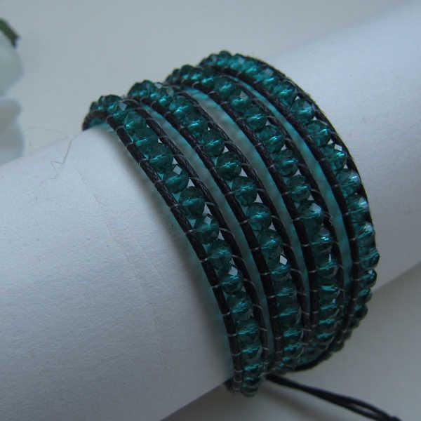 Handmade Faceted 3-4 มม.สีเขียวสร้อยข้อมือคริสตัลสีดำกัญชา