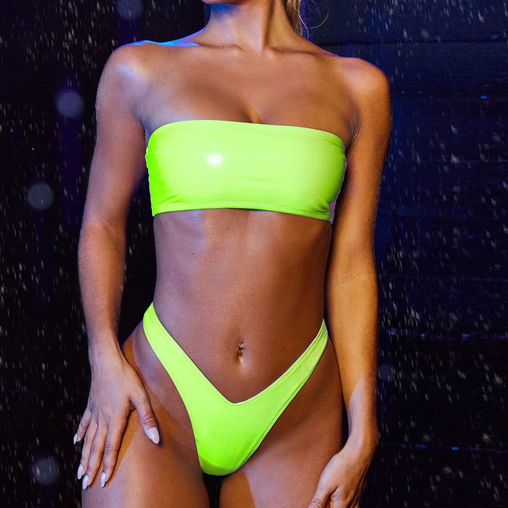 Sexy Thong Bikini 2020 Mujer Neon Green Orange Swimsuit Female Bandeau Swimwear Women Patent Leather Bathing Suit Swimming Suit