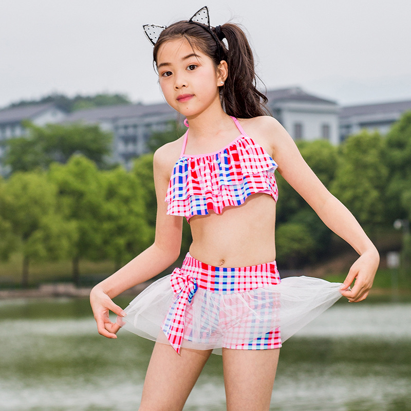 2019 New Style Western Style KID'S Swimwear 6-9-Year-Old Qmilch Gauze Two-piece Swimsuits Summer Day Pool Girls' Shirt