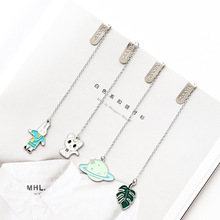 5pcs/lot Ins Style Cartoon Pendant Bookmark Creative Literary Metal Pages Marker Student Stationery Reward Small Gifts cartoon metal pendant bookmark student kawaii accessories small decorative pendant page holder