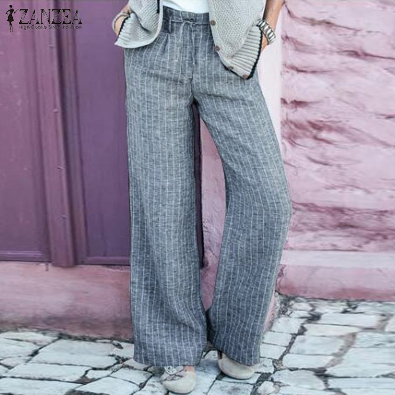 Fashion ZANZEA Women Striped Pants Elegant High Waist Wide Leg Trousers Casual Work OL Long Pants Femme Cotton Flare Pantalon